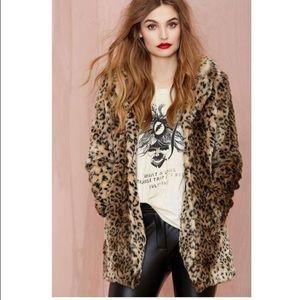 NASTY GAL Leopard Print Faux Fur Coat